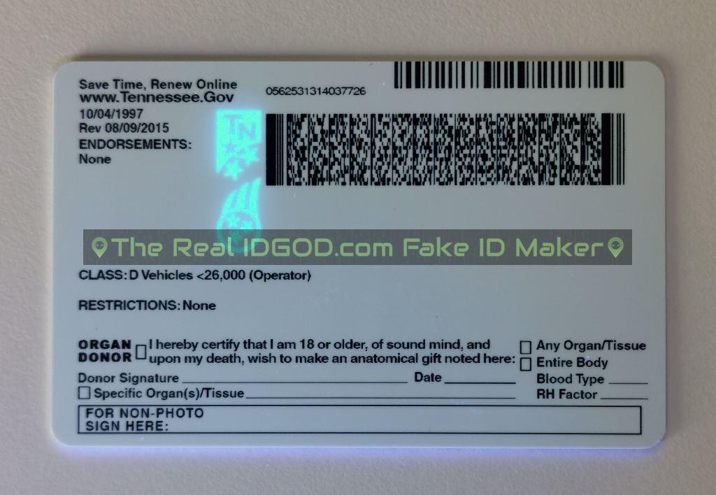 Tennessee fake id card ultraviolet ink design under blacklight