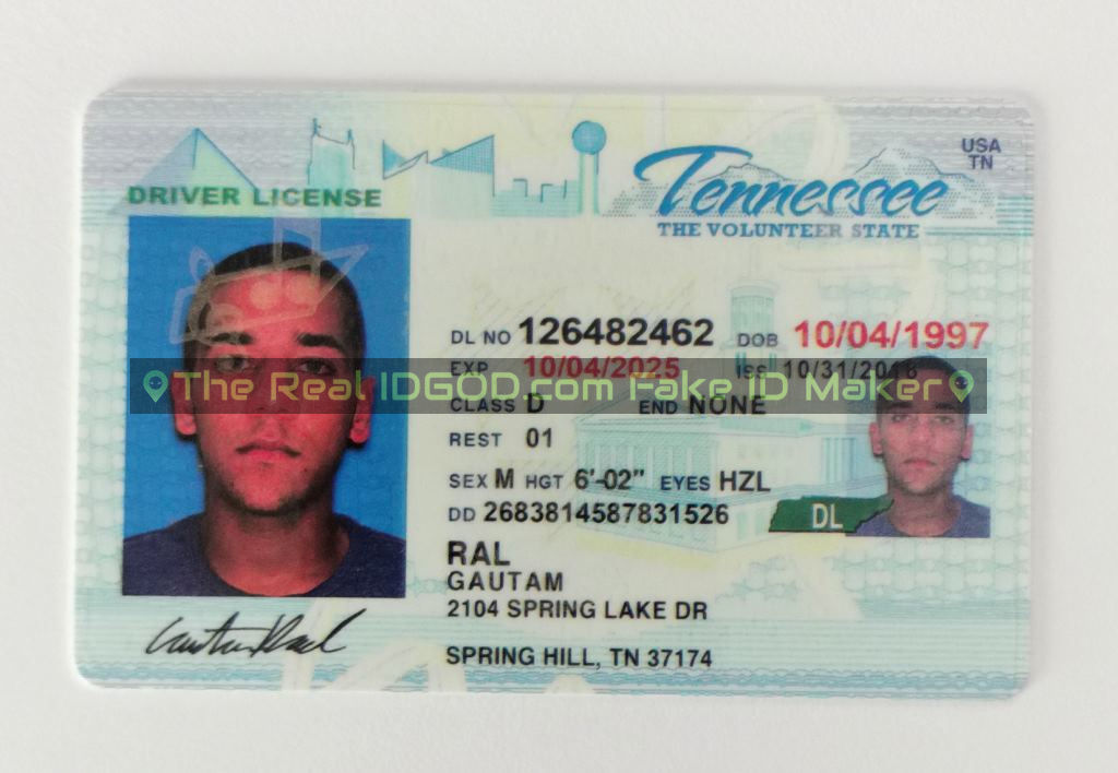 Tennessee fake id card made by IDGod