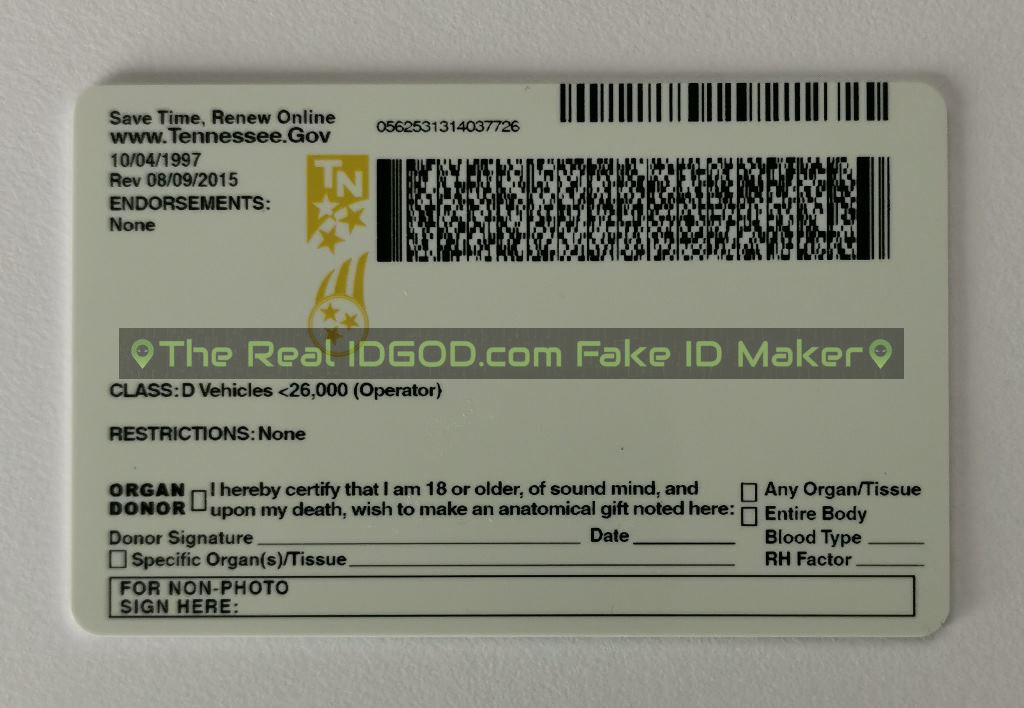 Tennessee scannable fake id card backside
