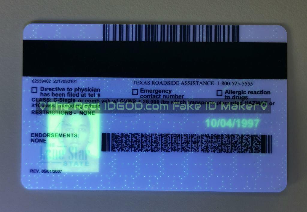 Texas fake id card ultraviolet ink design under blacklight