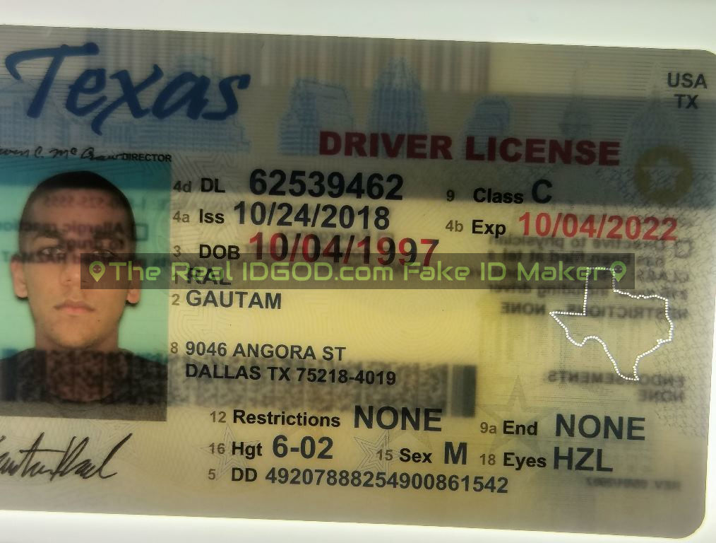 Texas fake id perforated design with directed light to the back of card