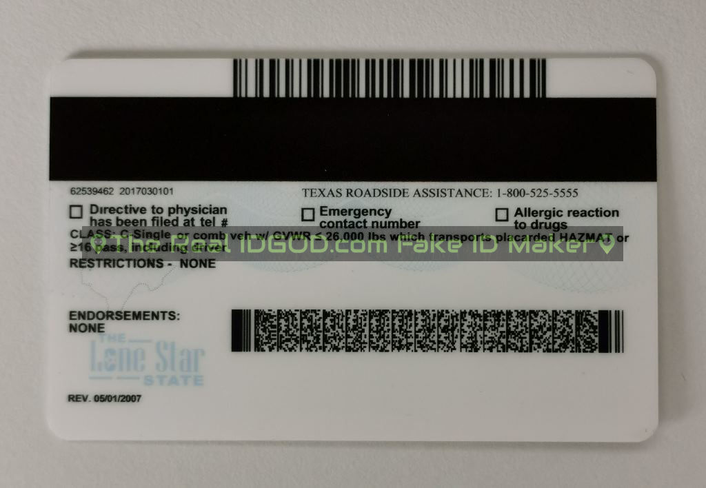Texas scannable fake id card backside