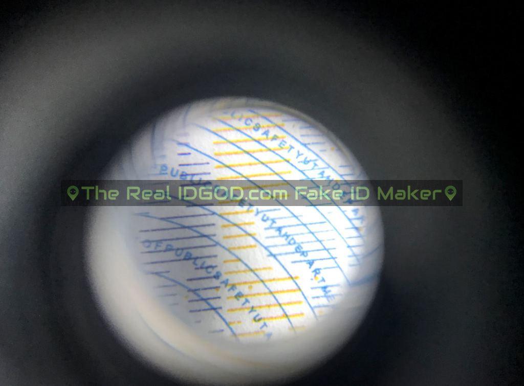 Utah fake id card microprint design