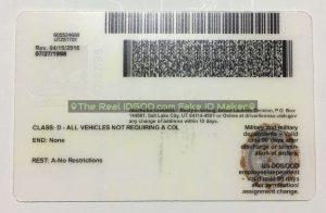 Utah scannable fake id card backside with encoded printing of barcodes made by IDGod.
