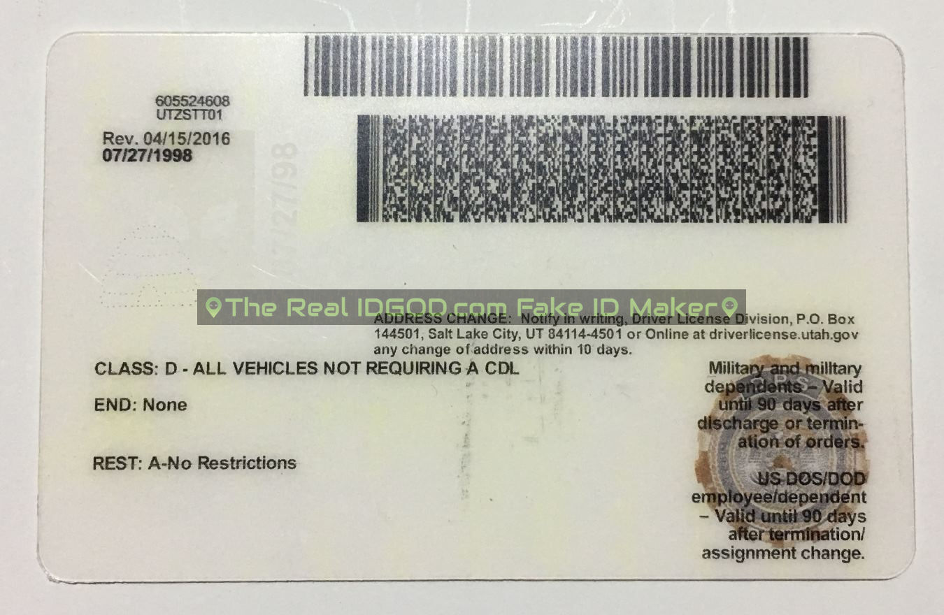 Utah scannable fake id card backside