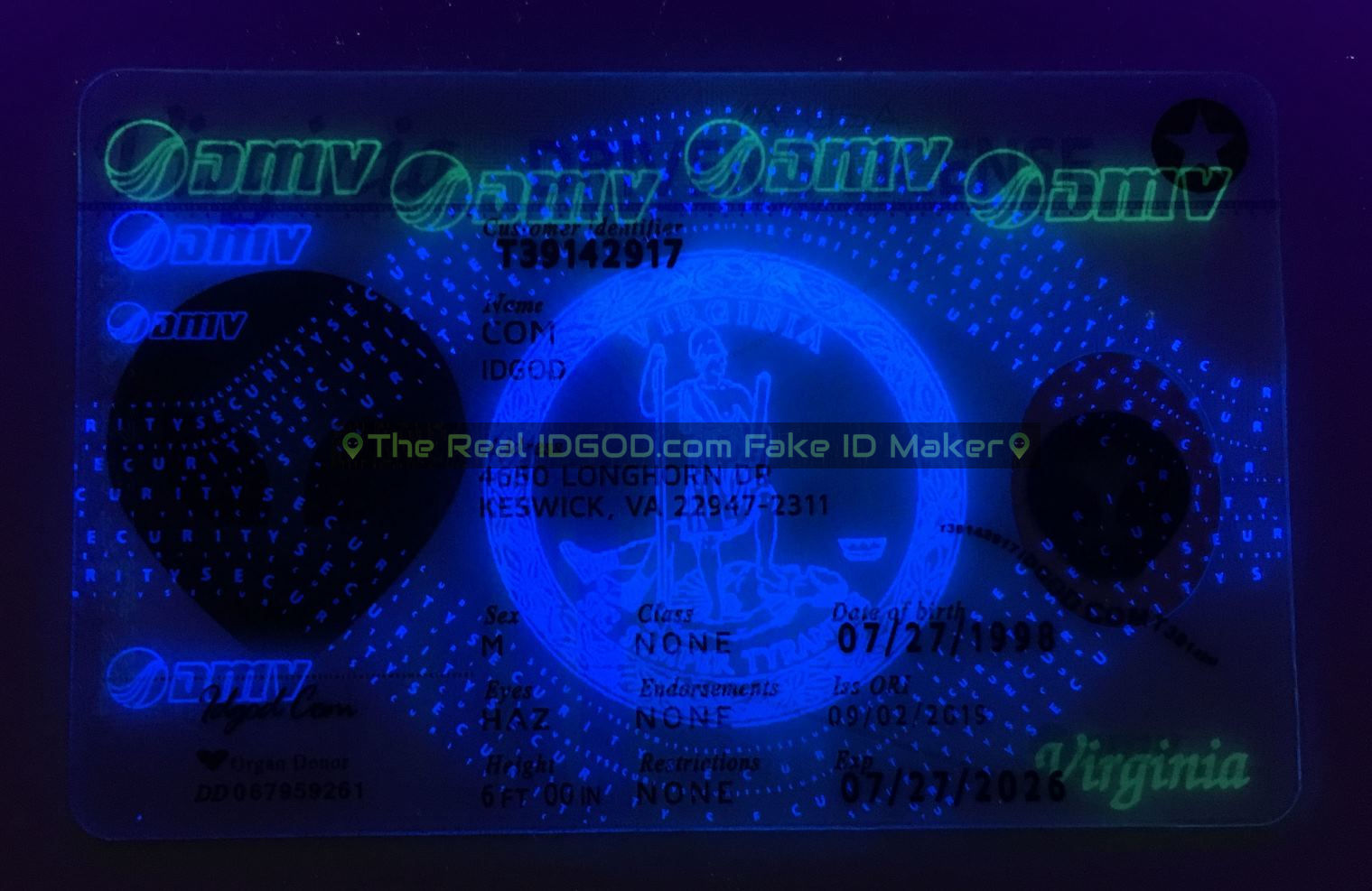 Virginia fake id card ultraviolet ink design under blacklight