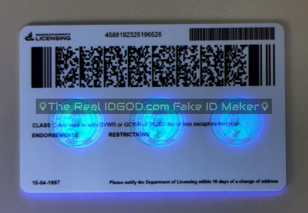 Washington fake id card ultraviolet ink design under blacklight