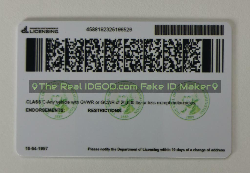 Washington scannable fake id card backside