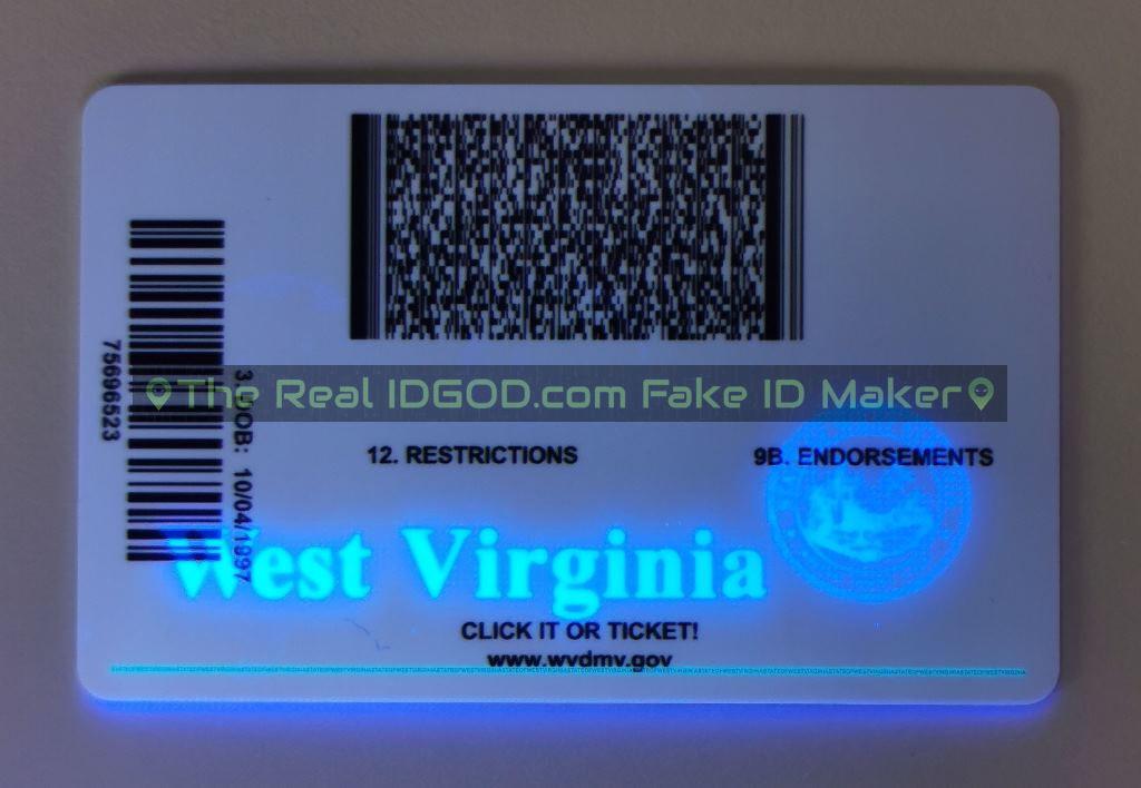 West Virginia fake id card ultraviolet ink design under blacklight