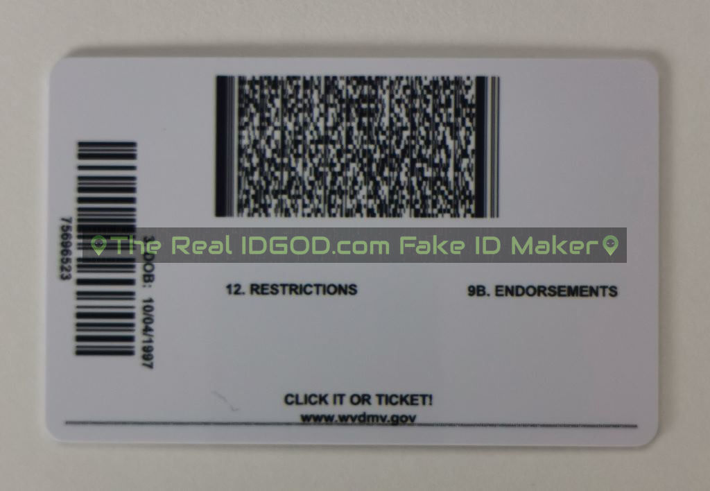 West Virginia scannable fake id card backside