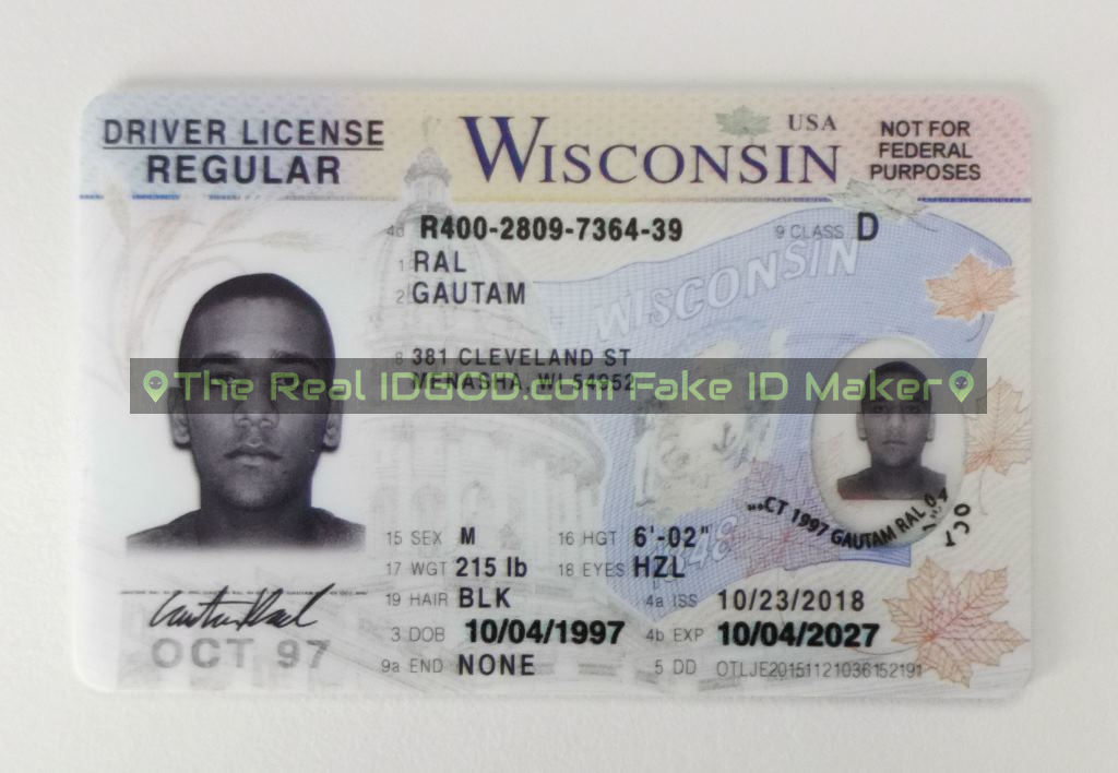 Wisconsin fake id card made by IDGod