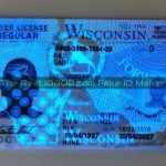 Wisconsin fake id UV design under blacklight made by IDGod