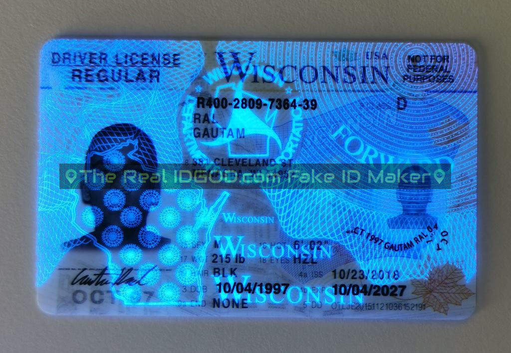 Wisconsin fake id card ultraviolet ink design under blacklight