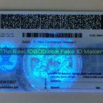 Wisconsin fake id showing card backside UV design under blacklight