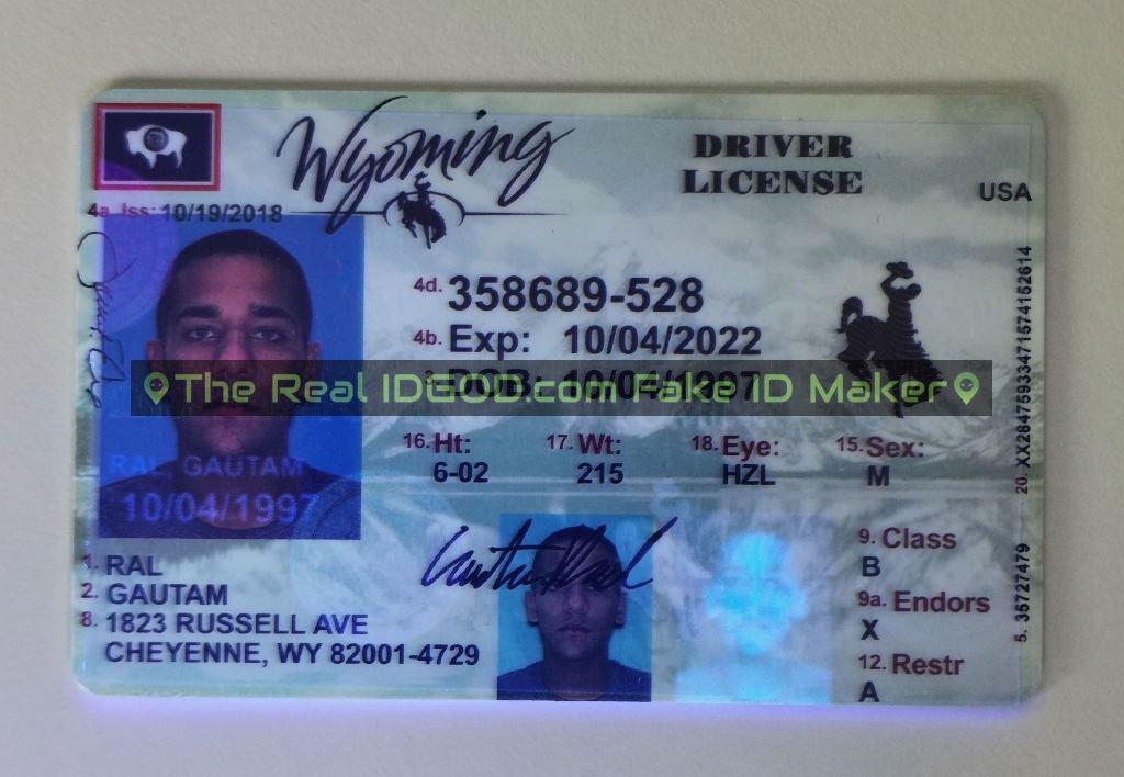 Wyoming fake id card ultraviolet ink design under blacklight