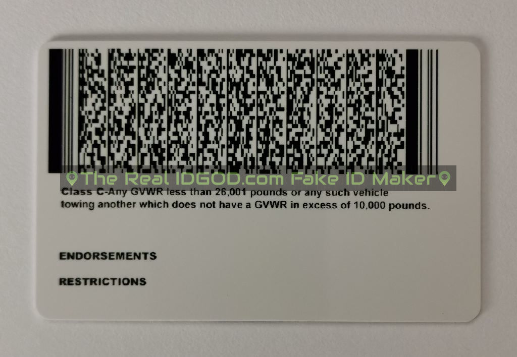 Wyoming scannable fake id card backside